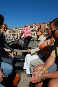 Two gondoliers get us quickly and inexpensively over to San Polo area.