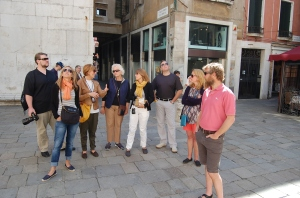 The group looks on as Donatella educates us about what we are seeing here in Venice.