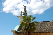 The Church at Orta looks down at the Lake with the statue framed by the clouds today.