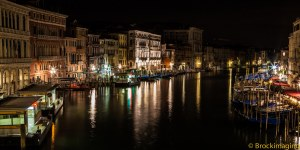From Rialto Bridge; looking down at the Grand Canal at midnight.  Thanks, Mr. B.