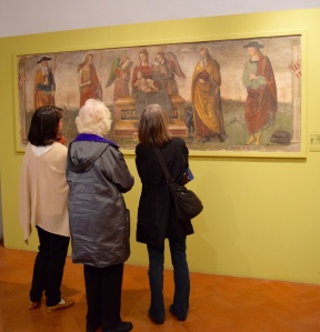Our ladies - Patricia, Nancy and Louise - check out a della Francesca.