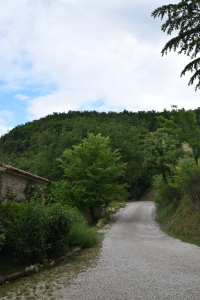Looking from the church up the Borgo road.