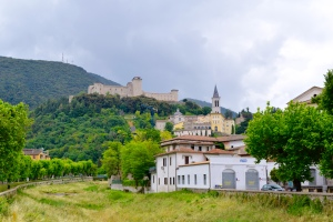 When we arrive in Spoleto, this is our view from the parking area just outside the gate.  You can see the steeple of the cathedral and the battlements of the fort at the top of the town.