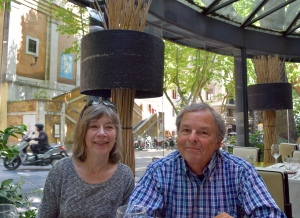 The Via Veneto of La Dolce Vita movie fame is the next street by the hotel, so we strolled around to a nice lunch spot.  Here are the Staffords, mellowed out and awaiting another wine accompanied midday meal.
