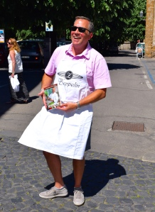 Remember the Zeppelin restaurant in Orvieto?  The owner/chef was such a character that he gave each family an apron.  Tim Roach had his on and displayed the cookbook before we got to our car in the lot.