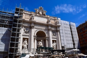 The Trevi Fountain, too, is undergoing some major clean-up renovations. Still a major monument with crowds, but no water going and no pool to throw your coin...we made a wish to come back to Rome...even without the coin in our right hand, throwing it over our left shoulder.