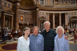 The four of us needed to take this photo to assure Patricia Boyd that we had fulfilled our promise to take her regards to the Pantheon.