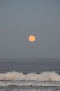 Here's that full moon rising out of the Atlantic Ocean.