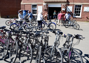 Renting bikes is the first morning's first business.