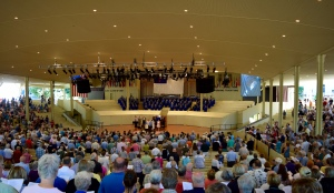 Here's the crowd from back center seats.  Stage, organ and pipes along with choir in blue back there.