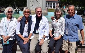 Group photo at the fountain on the main quadrangle.