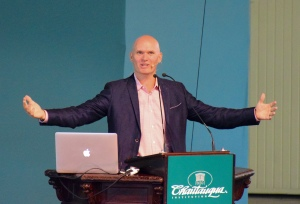 Anthony Doerr, author, was funny and so pleased to be asked to speak here in the big hall - 5,000 people came to hear and applaud.
