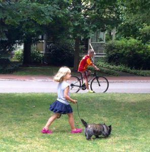 We watched this little girl yank her dog around the quad for a while.