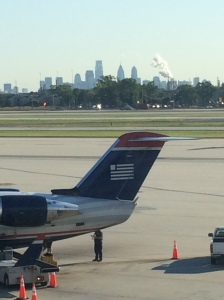 USAirways has been our constant companion for a decade in Philadelphia.  Everything is being changed over to American Airlines.  This may be one of our last rides with the old logo.  We are fans of USAir and look forward to American as well.