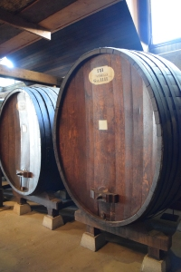 We sneaked a peek into the fermenting area...great barrels.